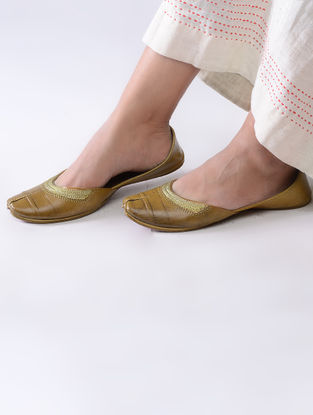 Mustard Handcrafted Leather Juttis with Tilla Embroidery