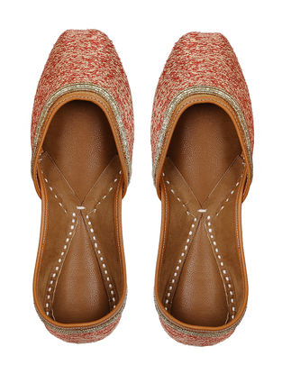 Orange-Beige Embellished Leather Juttis