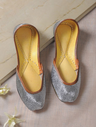 Silver Zari-Embroidered Leather Juttis