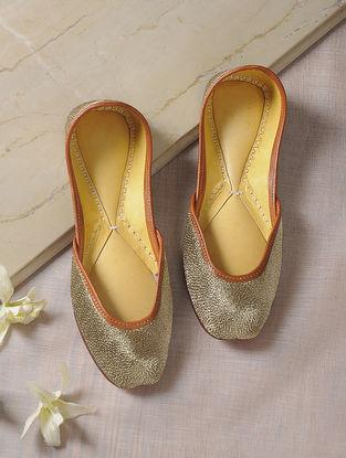Golden Zari-Embroidered Leather Juttis