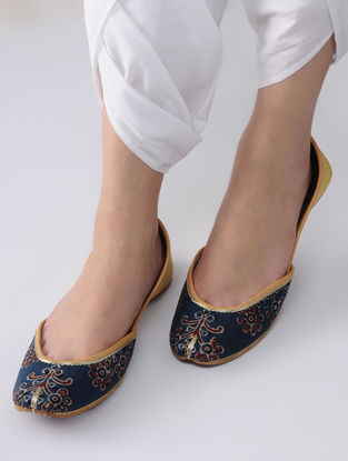 Indigo-Yellow Handcrafted Block-Printed Cotton and Leather Juttis