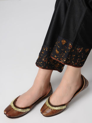 Brown Gota Embroidered Leather Juttis