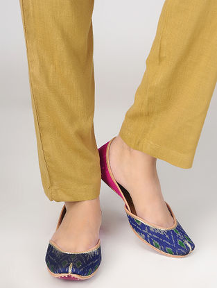 Blue-Pink Hand Block-Printed Cotton and Leather Juttis