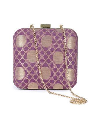 Purple Brocade Silk Clutch