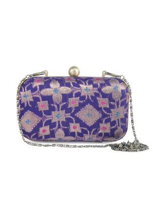 Purple Recycled Brocade Silk Clutch