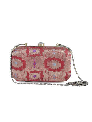 Red Recycled Brocade Silk Clutch
