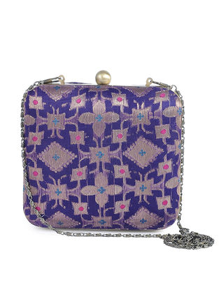 Purple Recycled Brocade Silk Clutch