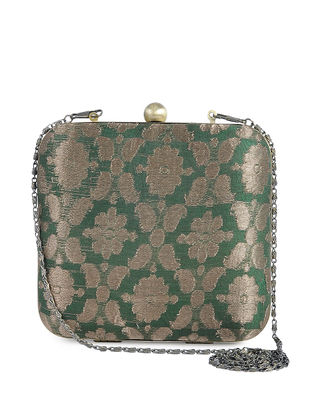 Green Recycled Brocade Silk Clutch
