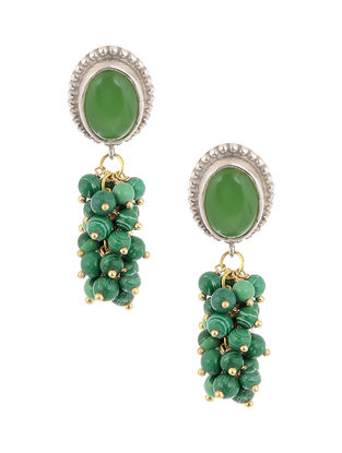 Green Jade and Onyx Silver Earrings