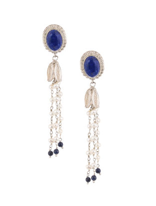 Lapis Lazuli and Pearl Silver Earrings