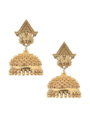 Gold Tone Silver Jhumkis with Peacock Design