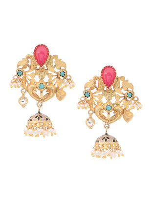 Pink Onyx and Turquoise Gold Tone Silver Jhumkis