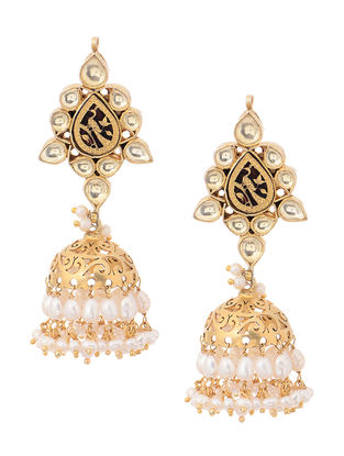 Crystal and Fresh Water Pearl Gold Tone Silver Jhumkis