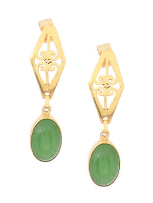 Green Onyx Gold Tone Silver Earrings