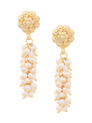 Fresh Water Pearl Gold Tone Silver Earrings