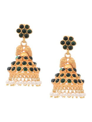 Green Onyx and Fresh Water Pearl Gold Tone Silver Jhumkis