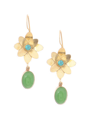 Green Onyx and Turquoise Gold Tone Silver Earrings with Floral Design