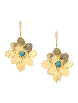 Turquoise Gold Tone Silver Earrings with Floral Design