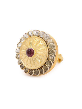 Onyx and Crystal Gold-plated Silver Ring