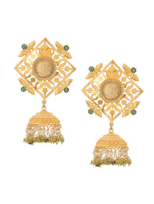 Turquoise and Pearl Gold-plated Silver Jhumkis