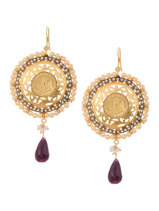 Purple Gold-plated Silver Earrings with Pearls