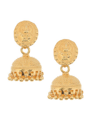 Gold-plated Silver Jhumkis with Lord Ganesha Motif