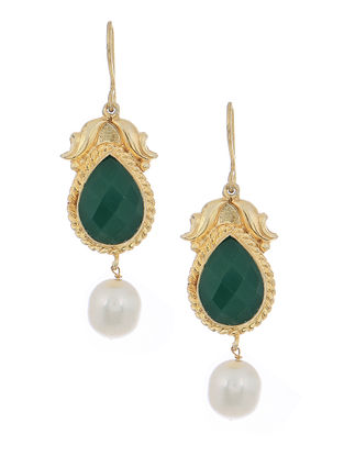 Green Gold-plated Silver Earrings with Pearls