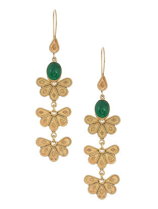 Green Gold-plated Silver Earrings