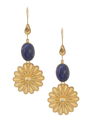 Blue Gold-plated Silver Earrings with Floral Design