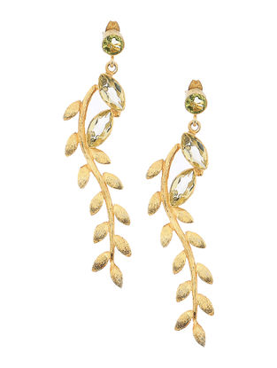 Green-Yellow Gold-plated Silver Earrings