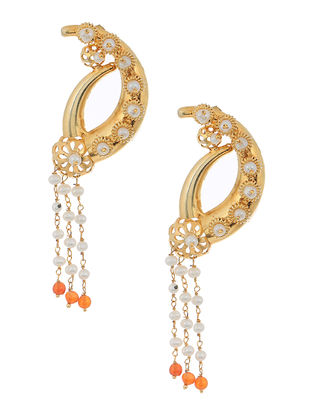 Orange Gold-plated Silver Earrings with Pearls