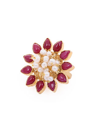 Pink Gold-plated Silver Ring with Pearls