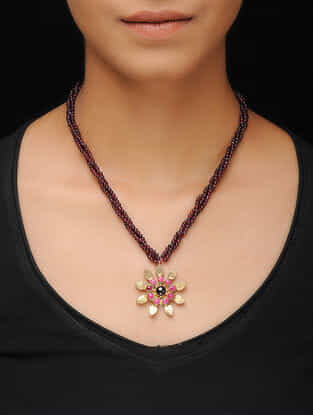 Maroon Beaded Gold-plated Silver Necklace with Floral Design