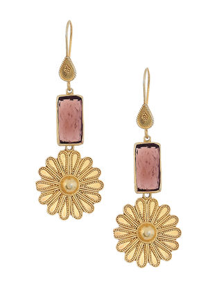 Purple Gold-plated Silver Earrings with Floral Design