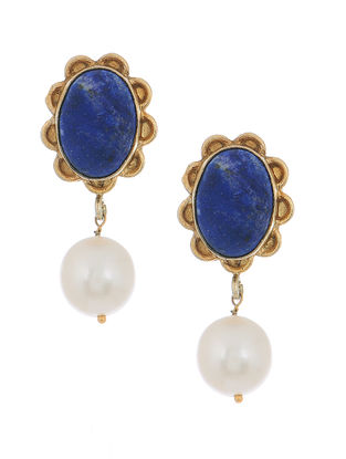 Blue Gold-plated Silver Earrings with Pearls
