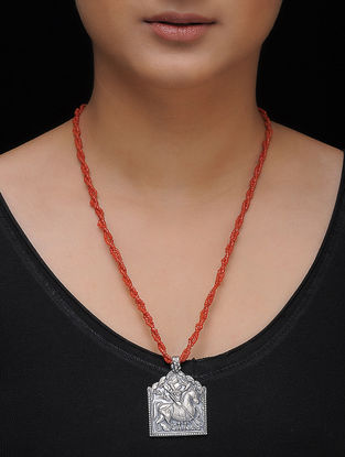 Red Beaded Silver Necklace