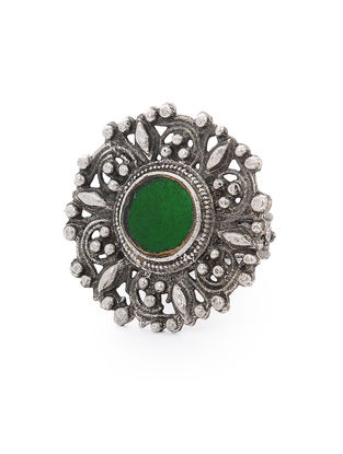 Green Glass Tribal Silver Ring (Ring Size -10)
