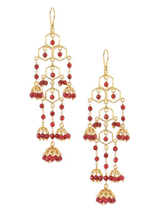 Red Onyx Gold Tone Silver Jhumkis