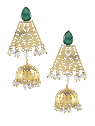 Green Onyx Gold Tone Silver Jhumkis with Fresh Water Pearls