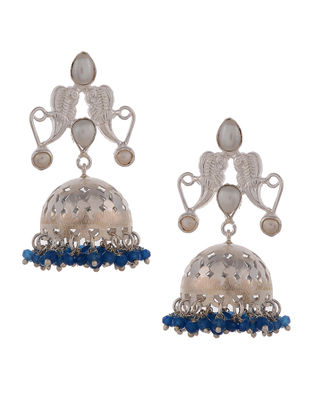 Blue Quartz Silver Jhumkis with Fresh Water Pearls