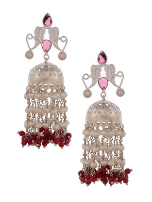 Red Onyx and Fresh Water Pearl Silver Jhumkis