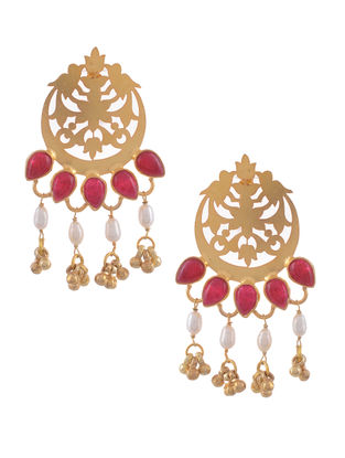 Red Onyx and Fresh Water Pearl Gold Tone Silver Earrings