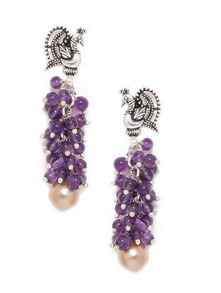 Amethyst and Fresh Water Pearl Silver Earrings