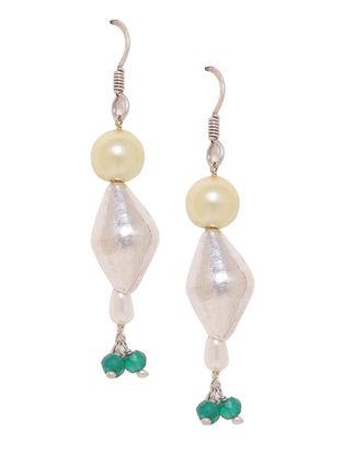 Green Onyx and Fresh Water Pearl Silver Earrings