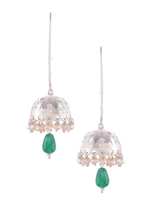 Green Onyx and Fresh Water Pearl Silver Jhumkis
