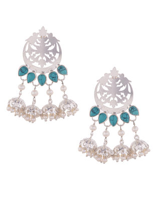 Turquoise and Fresh Water Pearl Silver Jhumkis