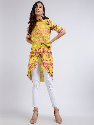 Yellow Printed Chanderi Tunic