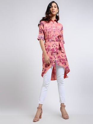Peach Printed Chanderi Tunic