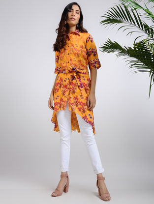 Orange Printed Chanderi Tunic