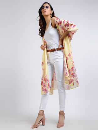 Yellow Printed Chanderi Shrug